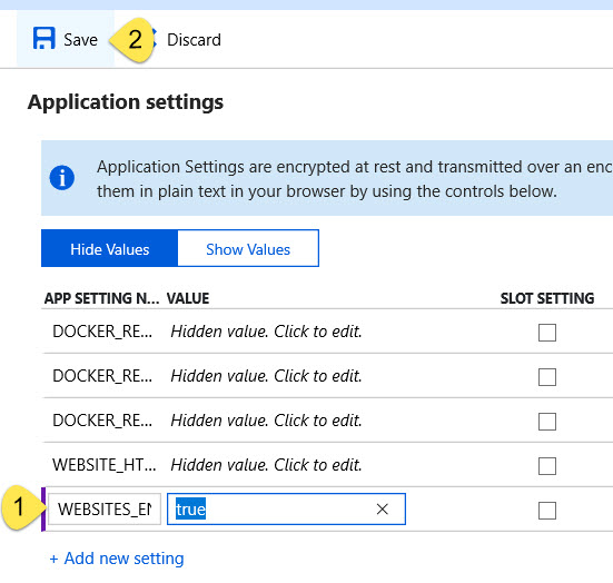Application setting for WEBSITES_ENABLE_APP_SERVICE_STORAGE