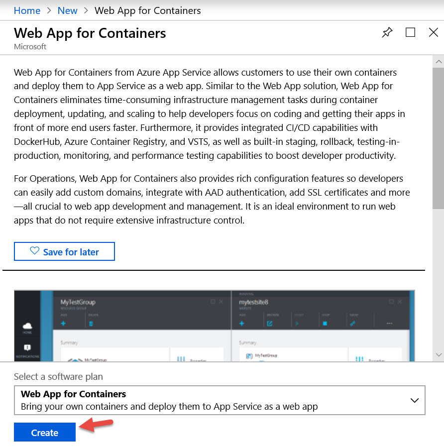 Web App for Containers resource information blade in Azure Portal.