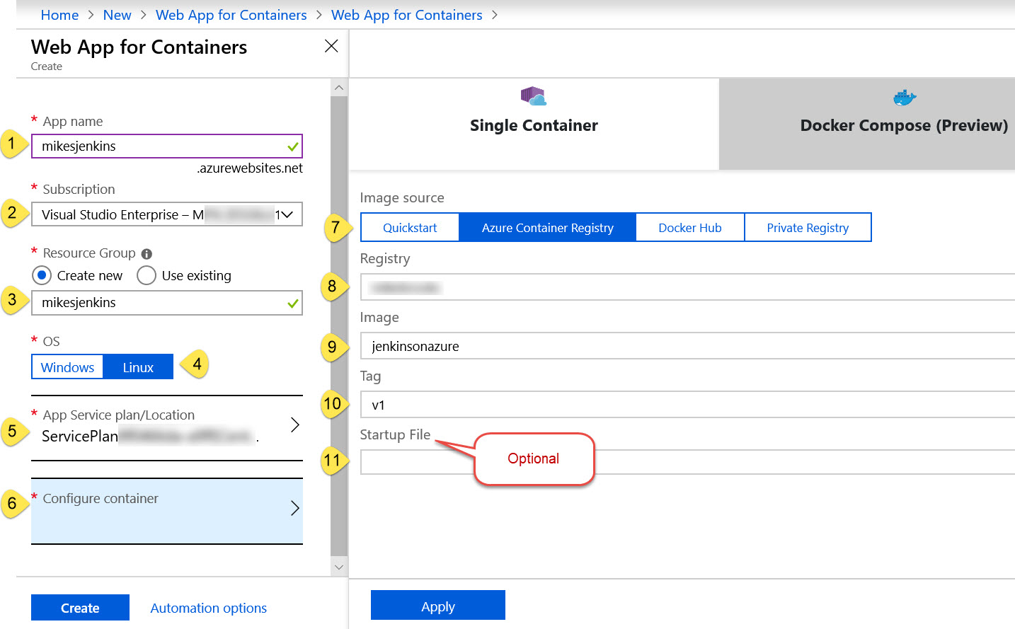Web App for Containers parameter entry blade in Azure Portal.